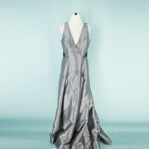 Monique Lhuillier 12 Gray Silver Illusion Gown NWT